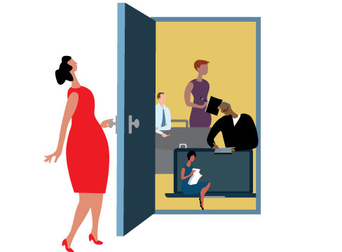 Illustration of a woman opening the door to show administrative and back office workers