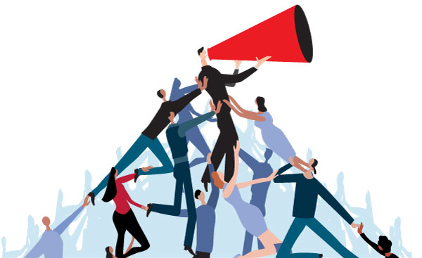 Illustration of pyramid of people speaking through megaphone