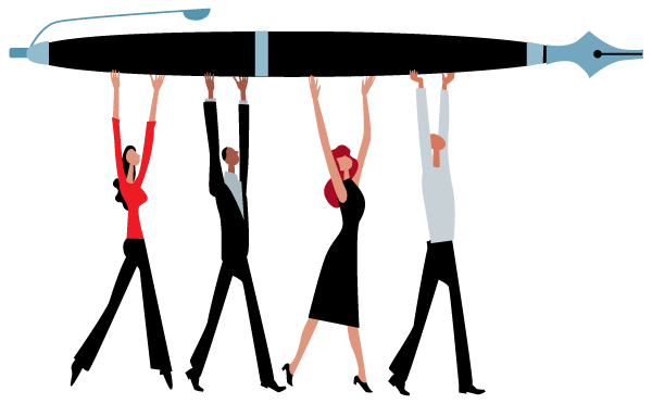 Illustration of multiple people holding up a pen