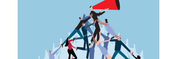 Illustration of a pyramid of people with man at the top talking into a megaphone